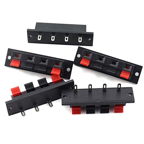 Tegg 5PCS 4 Pin Speaker Terminal Block 4 Way Amplifier Spring Jointing Clamp Test Clip Stereo Speaker Strip Shape Push Release Connector Plate 4 Position