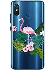 Oihxse Case Transparente Suave TPU Compatible con OnePlus 7T Pro Funda [Lindo Caricatura Flor Serie Dibujos] Cristal Protector Carcasa Anti Rasguños Bumper Cover-Flamenco