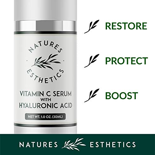 41Em7CPix9L - Natures Esthetics Vitamin C Serum with Hyaluronic Acid for Face - Anti-Aging, Pore Minimizer, Acne Treatment, Skin Brightening and Tightening. Packaging Prevents Oxidation. Air-Tight 1 fl.oz