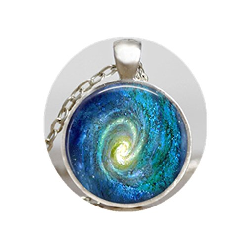 - Space Spiral Galaxy pendant , spiral galaxy necklace, galaxy blue jewelry