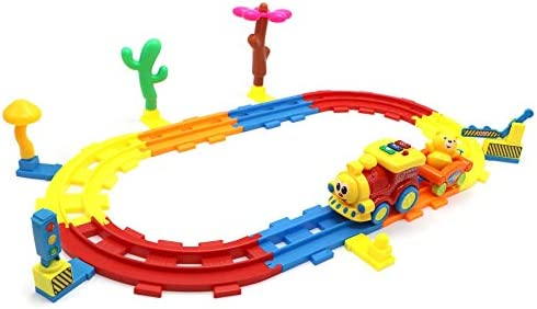 Toyzabo DIY Train Track Car Community Set DIY Track Train Set Train Tracks for Kids Train Race Track for Age 3 4 5 6 7 8 Years Old Best Gift for Birthday Christmas Holiday