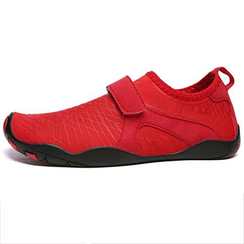Azul / Gris / Rojo Zapatos De Natación Suela De Goma Superior Elástica + Suela De Goma Antideslizante Descalzo Buceo Zapatos De Snorkeling Modelos Masculinos Y Femeninos Zapatos De Playa Secado Rápido Rojo