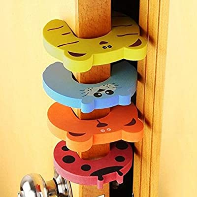 Domccy 4Pcs/Set Door Stopper Finger Pinch Guard Children Safety Colorful Cartoon Animal Foam Door Stop Cushion for Baby Children Safe Baby Products and Accessories, Baby Toys, Clothing