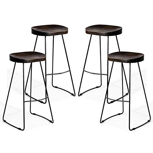 COSTWAY Metal Bar Stools Indoor-Outdoor Industrial Backless Counter Height Stools w/Square Seat Set of 4 (Wood)