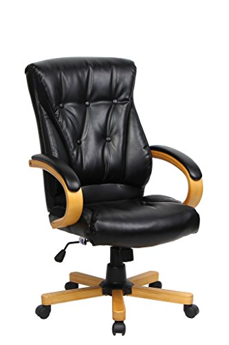 - VIVA OFFICE Fashionable Executive Chair, High Back Bonded Leather Chair with Wood Armrests and Base
