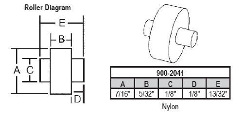 Replacement Nylon Window (Sliding Window Replacement Roller, Nylon Wheel, with Fixed Axle, 7/16