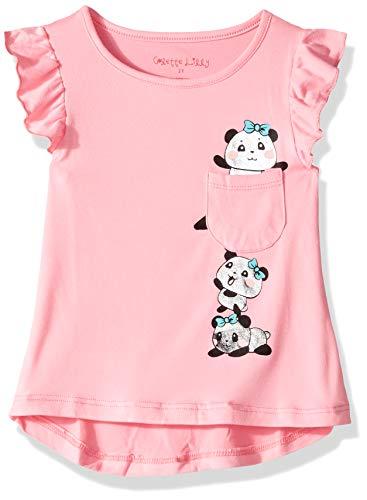 Knit Panda - Colette Lilly Girls' Toddler Short Sleeve Knit Top, Panda Pink, 2T