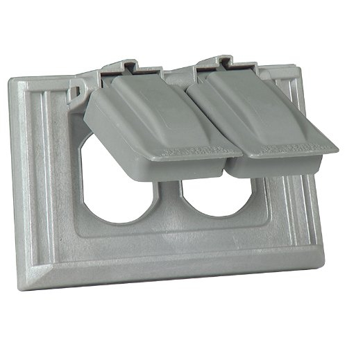 Cooper Wiring Devices S1952 Non-Metallic 1-Gang Weatherproof Duplex Receptacle Cover 2 Lids, Gray
