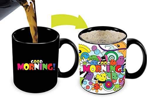 Mug Good Coffee Morning - Cortunex. Morning Coffee Mug. 11 Ounce. Changing Color Mug For You Or Your Friend. Ceramic Heat Sensitive Color Changing Coffee Mug. Novelty Heat Sensitive Mug With Crazy Cartoon Good Morning Saying