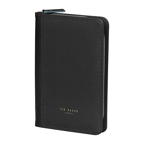 Ted Baker ATED459 Brogue Monkian Faux Leather Zipper Travel Organizer with Ballpoint Pen, Black