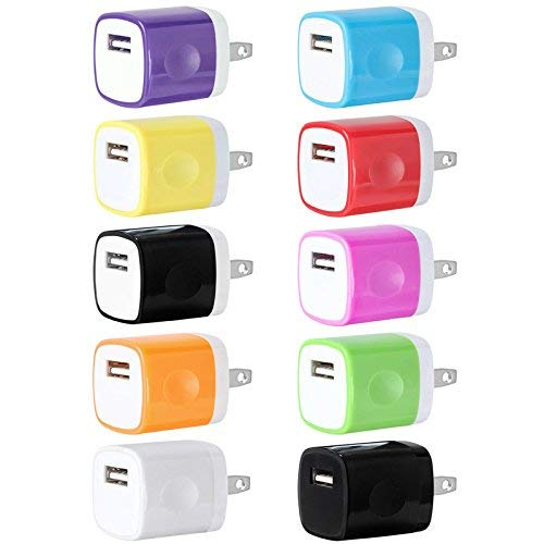 USB Wall Charger, Charger Adapter, FREEDOMTECH 10-Pack 1Amp Single Port Quick Charger Plug Cube for iPhone 7/6S/6S Plus/6 Plus/6/5S/5, Samsung Galaxy S7/S6/S5 Edge, LG, HTC, Huawei, Moto, Kindle