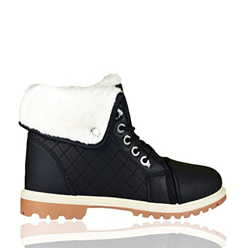 Ladies Ankle Boots Womens Fur Lined Grip Sole Trainers Girls Combat Collared Warm Winter Lace up Fashion High Top Snow Boot Black wgUmwtdsh