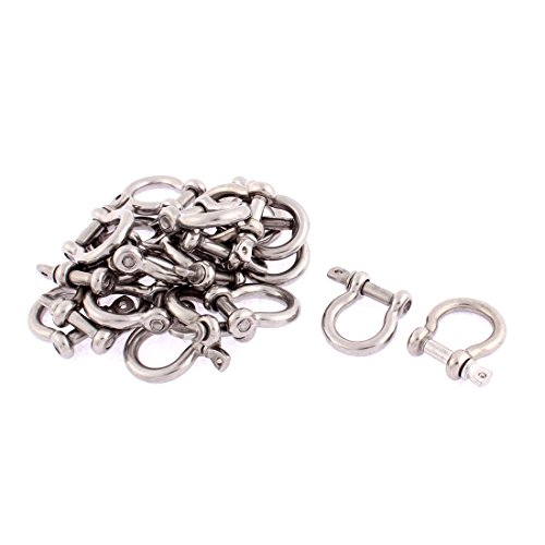 uxcell M5 Stainless Steel D Ring Wire Rope Bow Shackle 20pcs