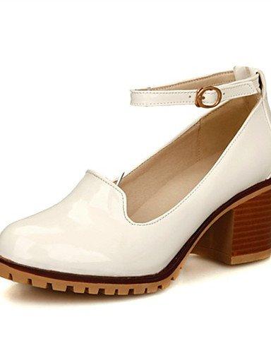 ZQ zapatos de cuero de patente tal¨®n talones gruesos zapatos de tac¨®n de la boda / del partido de las mujeres&?noche / vestido / negro , white-us10.5 / eu42 / uk8.5 / cn43 , white-us10.5 / eu42 / uk beige-us8.5 / eu39 / uk6.5 / cn40