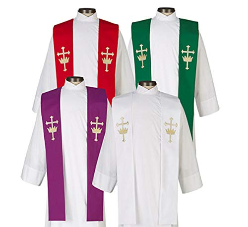 Overlay Crown - Beautiful Cross & Crown Overlay Stole. Includes One Each of 4 Liturgical Colors; Red, White, Purple or Green