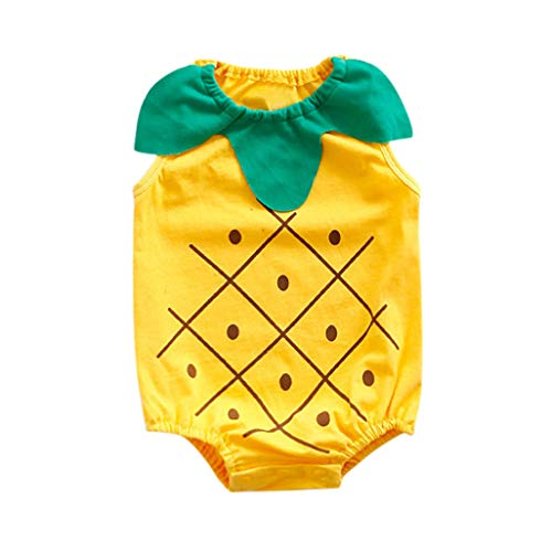 Newborn Boys Girls Jumpsuit, Infant Kids Baby Lovely Bodysuit Fruit Strawberry Pineapp Print Romper (0-6 Months, Yellow) by Hopwin Baby Boys Suits (Image #1)