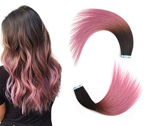 Rinboool Darkest Brown Fading To Lavender Pink Ombre Tape In Hair Extension For Women,14 Inch 40G 20pcs Per Pack,Pu Skin Weft Straight Real Remy Human Hair #2/Pink (Ombre Hair Clip In Extensions For Sale)