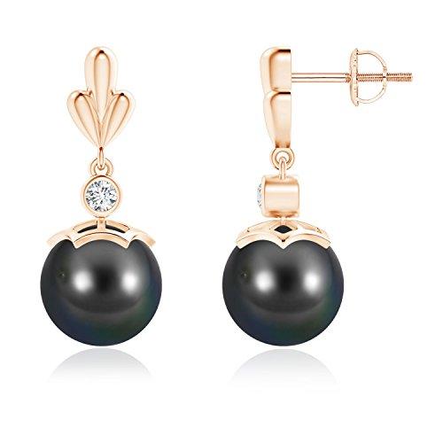 - Tahitian Cultured Pearl & Diamond Pear Motif Earrings in 14K Rose Gold (9mm Tahitian Cultured Pearl)