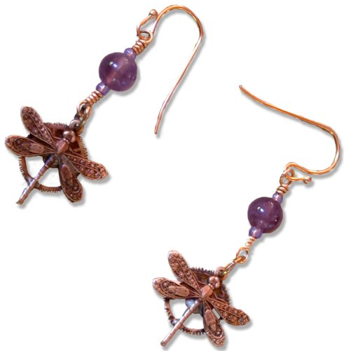 Antique Dragonfly Gears Steampunk Necklace (Neo Victorian Dragonfly on Vintage Gear Parts Dangle Earrings)