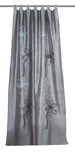 Home fashion 48244-803 - Cortina de seda con bordado inglés (245 x 140 cm), color gris