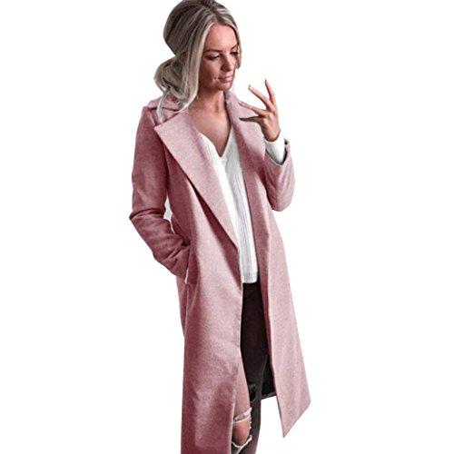 Winter Cardigan Womens Long Coat Lapel Parka Jacket Overcoat Outwear by TOPUNDE Pink]()