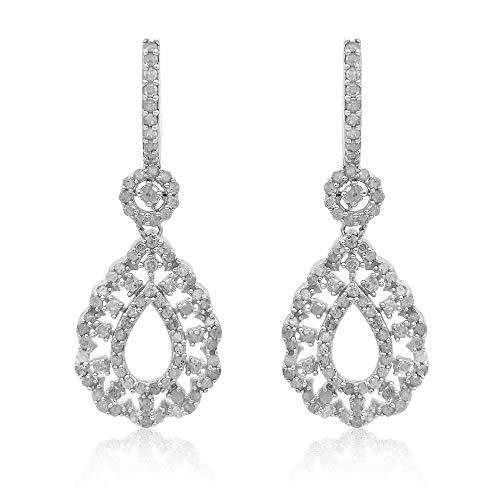 Ornaatis 2.14 Cttw Round Cut White Natural Diamond Openwork Teardrop Dangle Earrings Sterling Silver