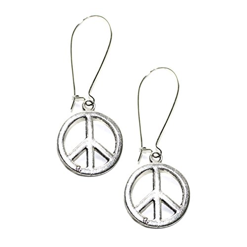 Silver Peace Sign Kidney-wire Earrings