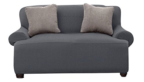 Bee & M Home Fashions Stretch Polyester & Spandex Blend Slipcover - Loveseat - Grey by Bee & M Home Fashions (Image #2)
