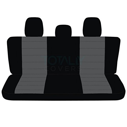 Totally Covers Fits 2011-2014 Ford F-150 SuperCab/SuperCrew Two-Tone Truck Seat Covers (Rear 60/40 Split Bench) w 3 Headrests, w/wo Center Armrest: Black & Charcoal (21 Colors) 2012 2013 F-Series F150