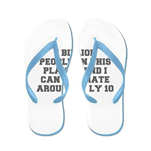 Cafepress 7 Miljard Mensen Op Deze Planeet En Ik Kan Het Verdragen - Flip Flops, Grappige String Sandalen, Strand Sandalen Caribbean Blue