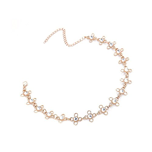 Geetobby Fashion Alloy Rhinestones Necklace Jewelry Charm Chain Pearl Choker Necklace Dainty Pendant Handmade Necklace for Women Girls
