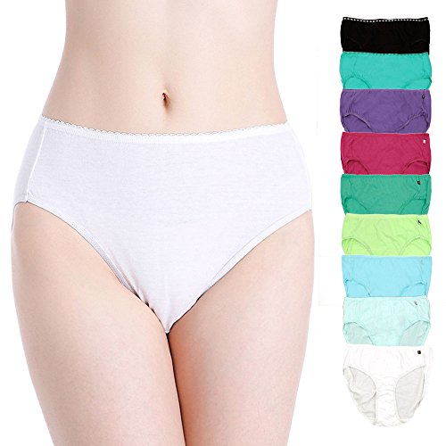 Women's Cotton Underwear Plus Size Briefs High Waist Hipsters Panties Assorted Pack (Rio-H,XS)