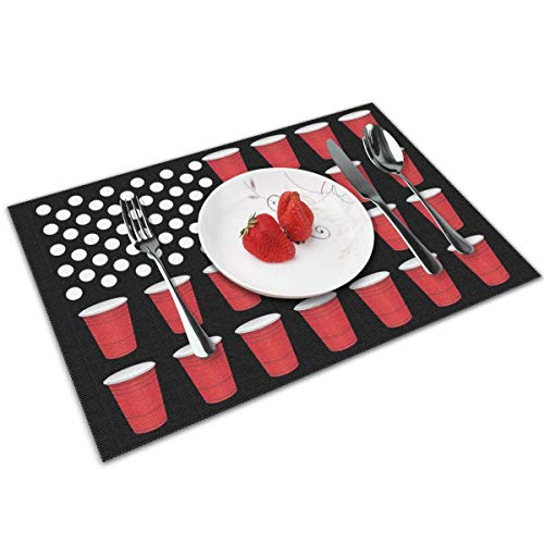 Beer Pong American Flag Placemats Set of 4 Table Mats for Kitchen Dining Table Decoration (Beer Pong Dining Table)