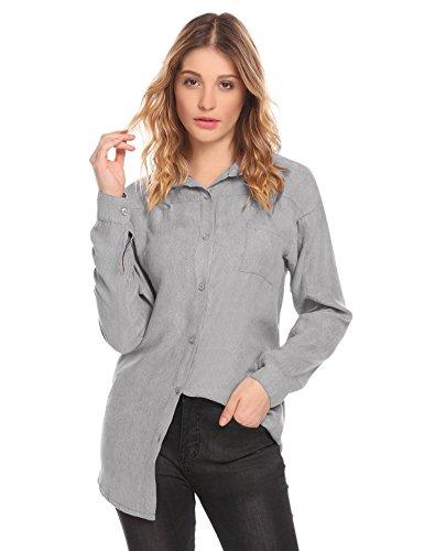 Suede Shirt Jacket (Zeagoo Women's Casual Button Turn Down Collar Long Sleeve Coat Suede Grey Shirt)