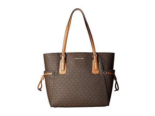 - MICHAEL Michael Kors Voyager Logo Faux-Leather Tote (Brown)