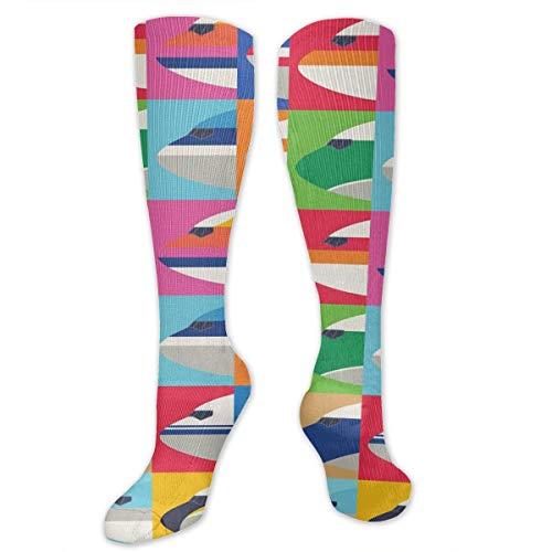 (Airplane Lattice Colorful Dress Socks Funny Stockings Crazy Socks Casual Cotton Socks)