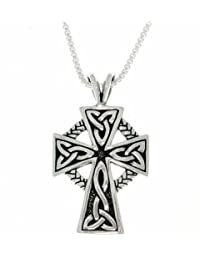 """Jewelry Trends Celtic Cross Trinity Knot Sterling Silver Pendant Necklace 18"""""""