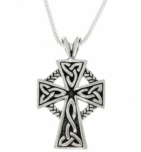 (Jewelry Trends Celtic Cross Trinity Knot Sterling Silver Pendant Necklace 18