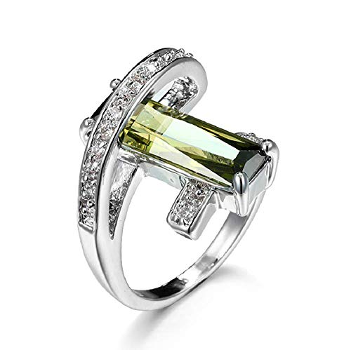 Finemall Women's Men Fashion 925 Silver Platinum Plated Square Cut Solitaire Olive Green CZ Stretch Unique Design Promise Ring Anniversary Engagement Band Size 6-10 (US Code 6)