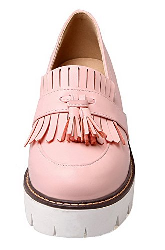 VogueZone009 Women's Fringed PU Kitten-Heels Pull-On Round-Toe Pumps-Shoes Pink QJ40o