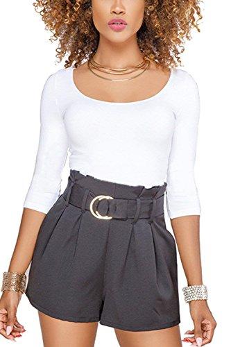 Sciolto Mode Pieghe Pantaloncini Larga Pants Nero Eleganti Gamba High Pantalone di Estivi Fashion Waist Casual Colori Solidi marca Donna Hot Shorts qvw6pS