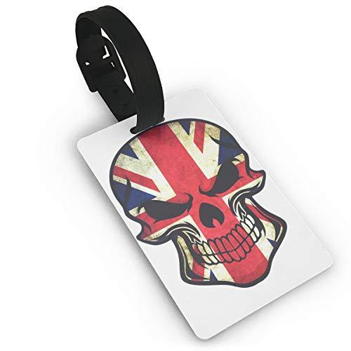 Mini Luggage Tag 2017 British UK Flag Sugar Skull PVC Business Card Holder for Baggage Bag Name Address ID Label Travel Identifier -