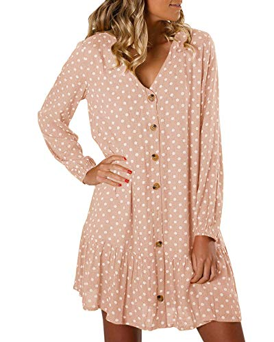 Womens V Neck Polka Dot Button Down Ruffle Long Sleeve Loose Flowy Shirt Mini Dresses ()