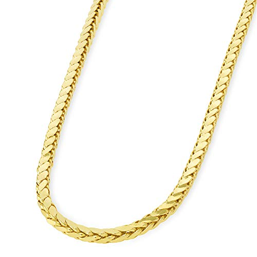 - 14k Yellow Gold 3mm Hollow Square Braided D/C Wheat Chain Necklace with Lobster Claw Clasp, 24