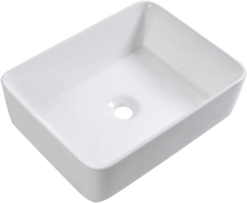 Sarlai 19 x15 Modern Rectangle Above Counter White Porcelain Ceramic Bathroom Vessel Vanity Sink Art Basin