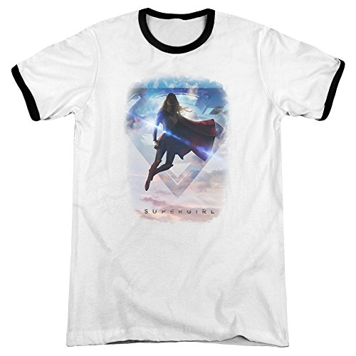 Sky Ringer T-shirt (Supergirl Endless Sky Mens Adult Heather Ringer Shirt White/Black 3X)