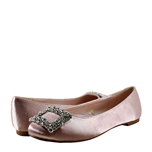 Blossom Gigi 12 Womens Buckle Accented Slip On Flat Nude 82e53ZZ