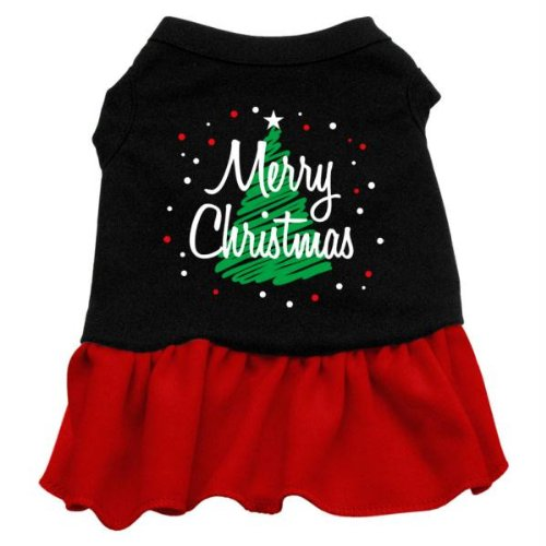 Mirage Pet Products 14-Inch Scribble Merry Christmas Screen Print Dress, Large, Black with Red from Mirage Pet Products