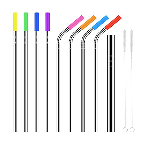 Stainless Steel Straws, Relohas Ultra Long 10.5'' Reusable Replacement Drinking Metal Straws for 30 20 Oz Yeti Tumber Rambers Cold Beverage (4 Straight+4 Bent+1 Bigger+8 Cilicone Tips+2 Brushes) from Relohas