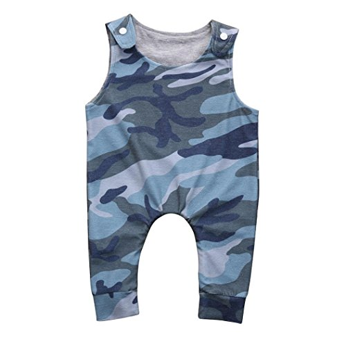 iumei Camouflage Baby Boys Girls Summer Clothing Sleeveless Coveralls Army Green Tank Tops (18-24 Months, Army (Le Top Boys Coverall)